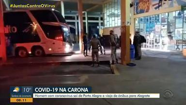 Homem com coronavírus sai de Porto Alegre e viaja de ônibus para Alegrete - Ele foi localizado pelas autoridades e levado para ala de Covid-19 do hospital da cidade.