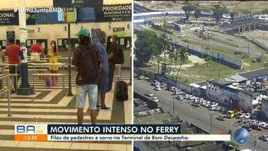 Confira o movimento no sistema ferry boat com a antecipação dos feriados no estado da BA - Medida foi tomada para conter o avanço do novo coronavírus no estado baiano.