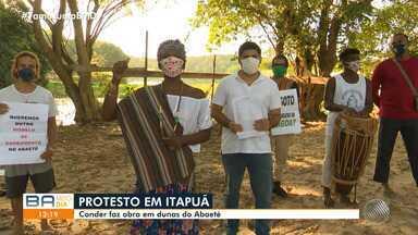 Moradores de Itapuã protestam contra construção de estação elevatória de esgoto no Abaeté - Conder faz obra em dunas na Lagoa do Abaeté.