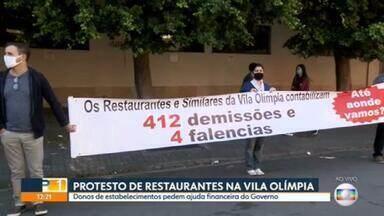 Donos de restaurantes fazem protesto em rua da Vila Olímpia - Os comerciantes pedem a ajuda financeira do Governo Federal durante esse período de isolamento,