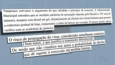 Justiça nega pedido de abertura de academias em Londrina - Justiça considerou alto o risco de contaminação nesses ambientes.