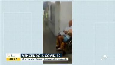 Idoso recebe alta e é aplaudido por profissionais da saúde - Confira mais notícias em g1.globo.com/ce