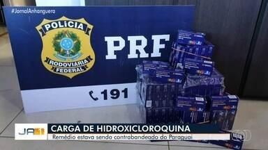 PRF prende quatro homens suspeitos de contrabandear hidroxicloroquina, em Uruaçu - Foram apreendidos 3,6 mil comprimidos que estavam escondidas em caixas de equipamentos de som.