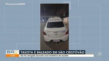 Taxista é baleado após sofrer tentativa de assalto no bairro de São Cristóvão, em Salvador - O crime ocorreu na noite de quarta-feira (27). O quadro de saúde da vítima é considerado estável.