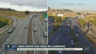 Apesar da retomada das atividades adiada em Campinas, movimento na cidade aumenta - A flexibilização do isolamento social foi adiada em uma semana, em Campinas, por causa dos altos números de ocupação nas UTIs da cidade.