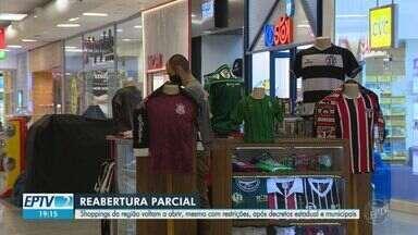 Coronavírus: após decretos, shoppings da região de Campinas abrem com restrições - Em Indaiatuba (SP), Shopping Jaraguá reabriu às 14h e ficou aberto até 20h.