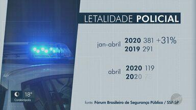 Mortes causadas por policiais militares e civis crescem 31% neste ano - Levantamento leva em consideração o período de janeiro a abril.