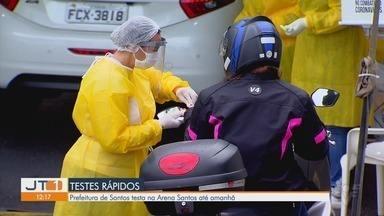 Prefeitura de Santos testa na Arena Santos até quinta-feira (4) - Desde o início da pandemia 35 mil pessoas foram testadas na cidade.