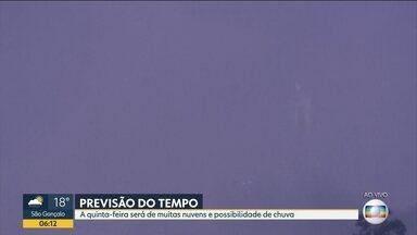 Tempo deve ficar nublado no Rio nesta quinta-feira (4) - Quinta-feira deve ser de muitas nuvens e chance de chuva.