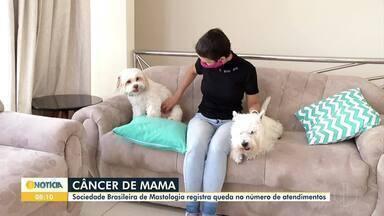 Levantamento aponta queda no atendimento de mulheres em tratamento contra câncer de mama - A Sociedade Brasileira de Mastologia apontou que, nos meses de março e abril deste ano, a média é de 75% em comparação ao mesmo período do ano passado.