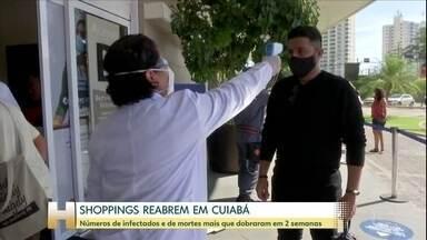 Número de casos e mortes por Covid-19 em MT mais que dobrou em duas semanas - Apesar disso, os shoppings estão reabrindo em Cuiabá. Filas se formaram para a reabertura.
