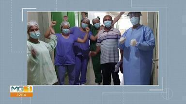 Paciente que estava internado com Covid-19 em Brasília de Minas recebe alta - Paulo Nunes da Rocha mora em um distrito de Januária e chegou ao hospital Municipal Senhora Sant'ana dia 25 de maio. Ele estava na UTI, sendo monitorado.