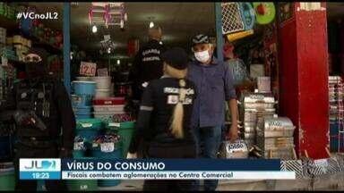 Fiscais combatem aglomeração no centro comercial de Belém - Fiscais combatem aglomeração no centro comercial de Belém