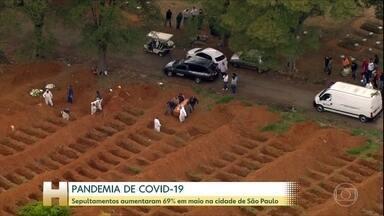 Sepultamentos aumentam 69% no mês de maio, em São Paulo - Autoridades de saúde pública monitoram enterros para saber avanço da doença no município