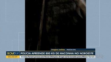 Polícia apreende 800 quilos de maconha no noroeste - Irmãos foram presos em Nova Olímpia; droga seria levada para Minas Gerais.