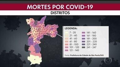 As mortes por causa da Covid-19 - Mapa mostra a distribuição de óbitos por distrito da capital.