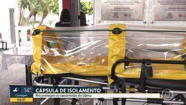 SAMU de Divinópolis tem capsula de isolamento - Equipamento é mais uma tentativa de evitar a contaminação pelo novo coronavírus.