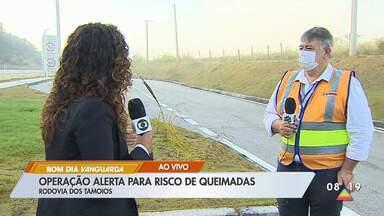 Operação alerta para risco de queimadas às margens das rodovias - Rodovia dos Tamoios já registrou foco de queimadas neste ano.