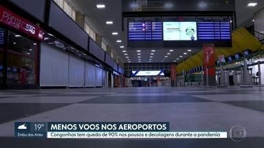 Aeroporto de Congonhas tem queda de 90% nos voos durante pandemia - Os aeroportos ainda estão bem longe de voltarem à rotina normal. A maioria das partidas foram canceladas.