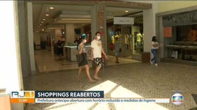 Shoppings do Rio começam a reabrir as portas - A abertura, que seria na semana que vem, foi antecipada para estaquinta-feira (11) pelo prefeito Marcelo Crivella. Em São Gonçalo, ocomércio também está liberado a partir de hoje.