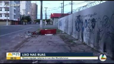 Entulho prejudica que precisa passar pela calçada da avenida dos Mundurucus, em Belém - Entulho prejudica que precisa passar pela calçada da avenida dos Mundurucus, em Belém