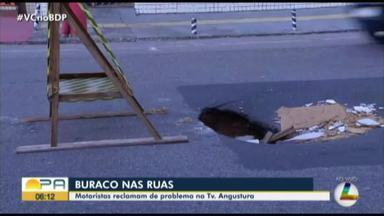 Motoristas reclamam de buraco na travessa Angustura, em Belém - Motoristas reclamam de buraco na travessa Angustura, em Belém