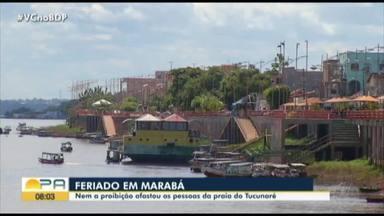População frequenta praia do Tucunaré em Marabá durante pandemia de Covid-19 - População frequenta praia do Tucunaré em Marabá durante pandemia de Covid-19