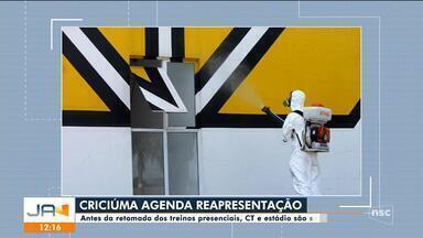 Estádio de Criciúma passa por sanitização - Estádio de Criciúma passa por sanitização