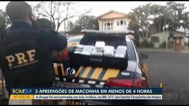 Três apreensões de maconha em menos de quatro horas - A droga foi encontrada em três ônibus, na BR-277, em Santa Terezinha de Itaipu.