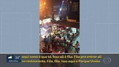 Flagrante de aglomeração no Parque União, nesta sexta (12) - Moradores do Complexo da Maré desrespeitam regras de isolamento e fazem fila em restaurante nesta sexta (12).
