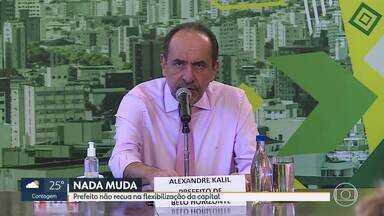Nada muda na flexibilização de Belo Horizonte na próxima semana - O prefeito de Belo Horizonte, Alexandre Kalil (PSD), disse em entrevista coletiva nesta sexta-feira (12) que, por enquanto, não haverá recuo ou avanço na flexibilização da capital