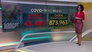 Brasil passa de 43,4 mil mortes e 873 mil casos, diz consórcio de veículos de imprensa - Levantamento é feito por jornalistas de G1, O Globo, Extra, Estadão, Folha e UOL junto às secretarias estaduais de Saúde.