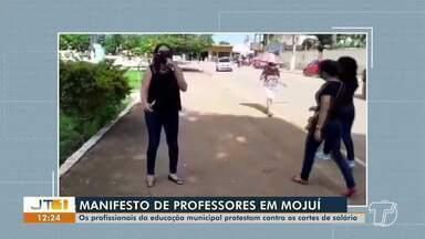 Em Mojuí dos Campos, profissionais da educação protestam contra cortes de salários - Manifestação foi realizada na manhã desta segunda-feira, 15.