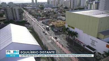 Com 96% dos leitos de UTI ocupados, Campos, RJ, mantém fase laranja - Governo municipal ainda espera inauguração de hospital de campanha do Estado, ainda sem data para abrir.
