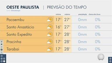 Veja como ficam as temperaturas nesta terça-feira no Oeste Paulista - Confira a previsão do tempo.