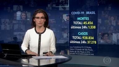 Três meses depois da primeira morte no Brasil por Covid, número de vítimas passa de 45 mil - O levantamento foi feito pelo consórcio de veículos de imprensa nesta terça (16).