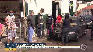 Sabará: número de casos de Covid-19 triplicou em 15 dias - A cidade já tem 90 casos confirmados, segundo boletim da Secretaria Estadual de Saúde.