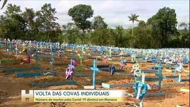 Cemitério de Manaus suspende enterros em vala comum e volta a usar covas individuais - Número de sepultamentos se aproxima da média de enterros diários registrada antes da pandemia. Em abril, média chegou a mais de 120 por dia.