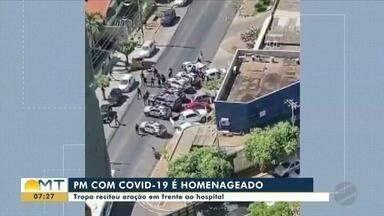 Policiais prestam homenagem a colega internado com coronavírus - Policiais prestam homenagem a colega internado com coronavírus.