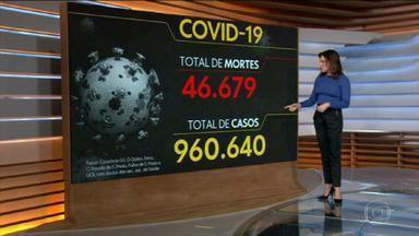 Brasil tem 46.679 mortes por coronavírus, mostra consórcio de veículos de imprensa - Levantamento de consórcio de veículos de imprensa aponta que país tem 960.640 casos confirmados.