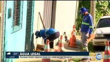 Equipes da Águas de Teresina fazem manutenção na rede da Zona Sul da capital - Equipes da Águas de Teresina fazem manutenção na rede da Zona Sul da capital