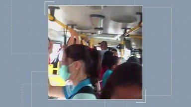 Passageiros reclamam da superlotação de ônibus - Moradores de São Vicente registraram a situação.