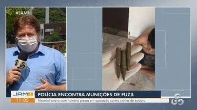 Operação policial prende suspeitos de estupro e apreende munições de fuzil em Manaus - Material estava com cinco homens.