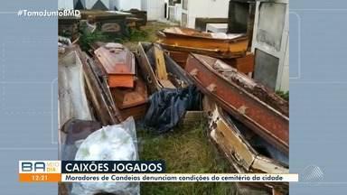 Moradores de Candeias denunciam caixões espalhados em cemitério - A prefeitura da cidade afirmou que estava sendo realizada uma obra de limpeza.