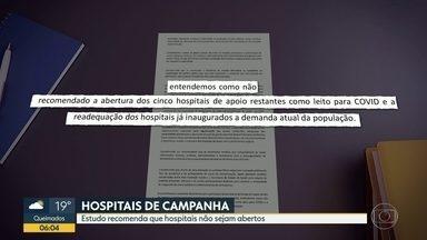 Estudo recomenda que hospitais de campanha não sejam abertos - A equipe técnica de Fernando Ferry preparou um estudo recomendando que os hospitais de campanha não sejam abertos. Dos sete hospitais prometidos pelo estado, só dois estão funcionando, o do Maracanã e o de São Gonçalo.