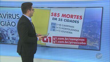 Região de Campinas tem 14.426 casos confirmados de coronavírus - O número de mortes chegou a 585 em 35 cidades atingidas pela Covid-19.