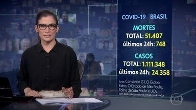 Número de mortos pela Covid-19 no Brasil chega a 51.407, segundo consórcio da imprensa - Nas últimas 24 horas, foram registrados 748 óbitos e 24.358 casos.