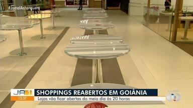 Shoppings voltam a funcionar com restriçoes, em Goiânia - Praças de alimentações não podem ter mesas e cadeiras.