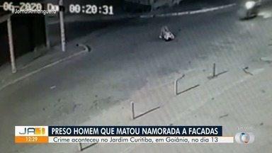 Preso homem suspeito de matar mulher a facadas em Goiânia - Crime foi registrado por câmeras de segurança.