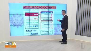Telão mostra o aumento dos números da Covid-19 em Governador Valadares - A Prefeitura confirmou 32 novos casos e mais uma morte de Covid-19 nessa segunda-feira (22)